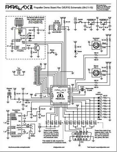 Propeller Demo Board Rev D/E/F Schematic